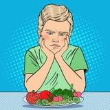 Menino infeliz com a placa de legumes frescos Comer saudável Ilustração retro do pop art ilustração royalty free