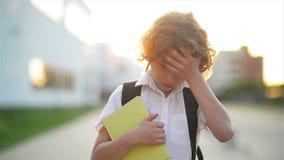 Menino inteligente bonito feliz com saco de escola e livro em sua mão Trouxa moderna A criança está pronta para responder Primeir filme