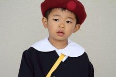 Menino japonês no uniforme do jardim de infância Fotografia de Stock Royalty Free