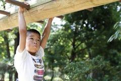 Menino japonês que joga com as barras de macaco fotografia de stock