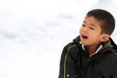 Menino japonês que tem a luta da bola de neve foto de stock royalty free