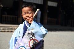 Menino japonês no festival de Seven-Five-Three Fotografia de Stock
