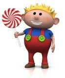 Menino louro com lollipop ilustração do vetor