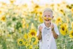 Menino louro da criança adorável em uma camisa no campo do girassol que ri e que tem o divertimento fora Estilo de vida, horas de imagem de stock