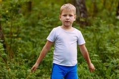 Menino louro da criança de sete anos séria no fundo natural do t-shirt branco no verão imagens de stock royalty free