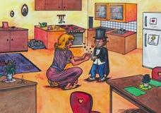 Menino mágico que encanta sua mãe (2012) ilustração stock