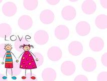 Menino + menina = amor (cor-de-rosa) ilustração royalty free