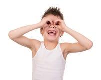 Menino molhado do cabelo com emoção Fotos de Stock