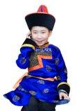 Menino Mongol com telefone de pilha Fotografia de Stock Royalty Free