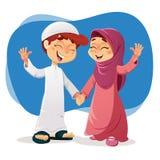 Menino muçulmano e menina que expressam a felicidade Fotos de Stock Royalty Free