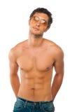 Menino muscular considerável isolado no branco Fotos de Stock Royalty Free