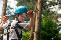 Menino na atividade de escalada no fio alto Forest Park Foto de Stock