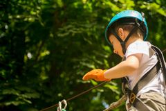 Menino na atividade de escalada no fio alto Forest Park Fotos de Stock Royalty Free