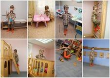 Menino na colagem do jardim de infância Fotografia de Stock