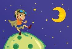 Menino na lua Imagens de Stock