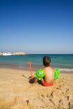 Menino na praia Foto de Stock Royalty Free