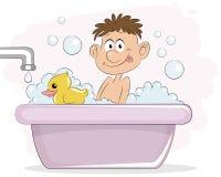 Menino no banho ilustração royalty free