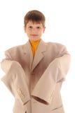 Menino no jaket de tamanho grande Foto de Stock Royalty Free