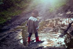 Menino no jogo do chapéu exterior na floresta do verão Fotos de Stock