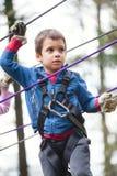 Menino no obstáculo no parque da aventura Fotos de Stock