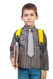 Menino no primeiro dia da escola Imagens de Stock Royalty Free