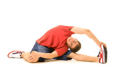 Menino no treinamento vermelho do t-shirt Imagens de Stock