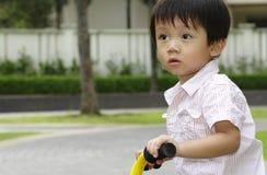Menino no triciclo Foto de Stock Royalty Free