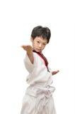 Menino no uniforme de taekwondo Fotografia de Stock