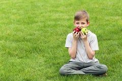 Menino novo bonito com as maçãs na grama verde Fotografia de Stock