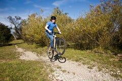 Menino novo com a bicicleta de montanha na excursão Imagem de Stock Royalty Free