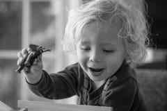 Menino novo com brinquedo do elefante foto de stock royalty free