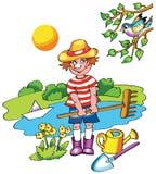 Menino novo do fazendeiro no dia ensolarado ilustração royalty free
