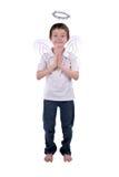 Menino novo em um traje do anjo Imagens de Stock