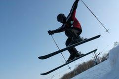 Menino novo no esqui Imagens de Stock Royalty Free