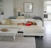 Menino novo que coloca em um sofá imagens de stock royalty free