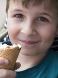 Menino novo que come o gelado imagem de stock royalty free