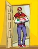 Menino novo que entrega a caixa quente da pizza das pizzas Entregue o menino Imagens de Stock Royalty Free