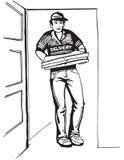 Menino novo que entrega a caixa quente da pizza das pizzas Entregue o menino Fotografia de Stock Royalty Free