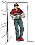 Menino novo que entrega a caixa quente da pizza das pizzas Entregue o menino Fotografia de Stock