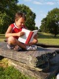 Menino novo que lê um livro Imagens de Stock Royalty Free