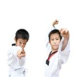 Menino novo que treina a ação de taekwondo isolada Fotos de Stock Royalty Free