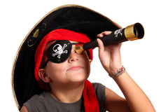 Menino novo vestido como o pirata Foto de Stock Royalty Free