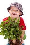 Menino pequeno do jardineiro Fotografia de Stock Royalty Free