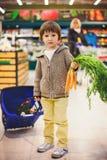 Menino pequeno e orgulhoso bonito que ajuda com as compras na mercearia, saudáveis Fotos de Stock Royalty Free