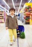 Menino pequeno e orgulhoso bonito que ajuda com as compras na mercearia, saudáveis Foto de Stock Royalty Free