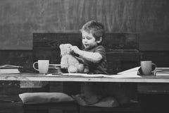 Menino pequeno que joga com o urso de peluche durante a ruptura da escola Criança bonito com seu brinquedo favorito Jogo educacio fotos de stock