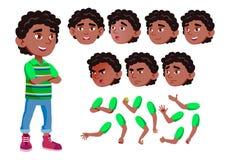 Menino preto, afro-americano, criança, criança, vetor adolescente alegria comic Emoções da cara, vários gestos Grupo da criação d ilustração do vetor