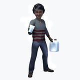 Menino preto pequeno que guarda o copo e o contatiner 1 Foto de Stock