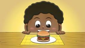 Menino preto que olha o Hamburger ilustração royalty free