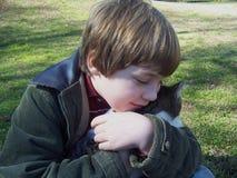 Menino que abraça o gatinho cinzento Fotos de Stock Royalty Free